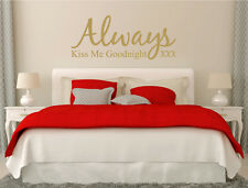 Always Kiss Me Goodnight Wall Decal | Wall Quote Sticker | Bedroom Wall stickers