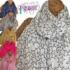 STARS SCARF LADIES SCARF WITH SKETCH STARS DESIGN SUPERB SOFT QUALITY 6 COLOURS