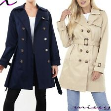 NEW WOMENS Ladies Lapel Stylish Long Parka MAC Coat Trench Outwear Jacket 8-16 N