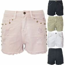 New Womens Ladies Pockets Raw Edges Ripped Studded Hot Pants Faded Denim Shorts