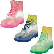 Infantil Degradado Transparente Flexibles Cordones Up Wellies /Botas de Agua