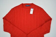Men's Ralph Lauren Polo Pullover Cable Knit Sweater Jumper Red Large L