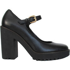 HOGAN scarpe decollete tacco pelle nera Mary Jane black leather heels €310