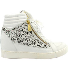 Alberto Guardiani sneakers alte donna pelle bianca traforata leather shoes €259