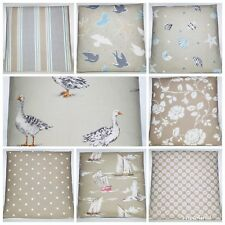 Clarke and Clarke Mix Match Taupe Duck Egg Bird Floral Stripe Spot Cushion Cover