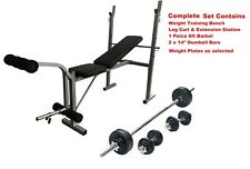 Weight Training Bench Set Barbell & Cast Iron Weight Plates Adjustable & Folding