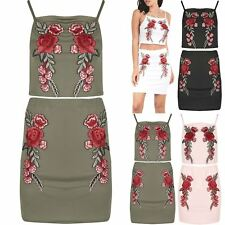 Womens Co-Ordinates Ladies Set Floral Rose Embroidered Strap Crop Top Mini Skirt