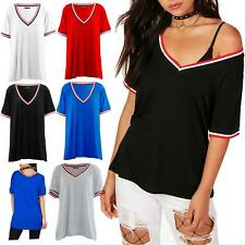 Womens  V Neck Stripes Short Sleeve Ladies Oversized Baggy Stretchy T-Shirt Top