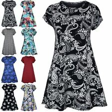 Womens Ladies Print Summer Short Cap Sleeve Flared Tunic Swing Dress Plus Size
