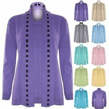 Womens Ladies Long Sleeves Open Twin Fine Knitted Sweater Jumper Cardigan Top