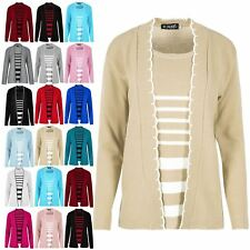 Womens Ladies Open Front Long Sleeves Knitted Twin Cardigan Jumper Sweater Top