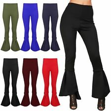 Ladies Womens Ruffle Frill Bell Bottom High Waisted Cigarette Palazzo Trousers