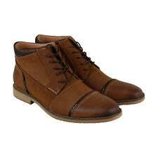 Steve Madden Leeman Mens Tan Leather Casual Dress Lace Up Boots Shoes