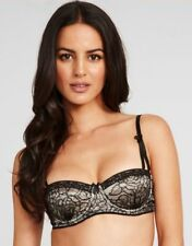 Mimi Holliday by Damaris Bon Bon Noir Lace and Silk Balcony Bra Black Brand New