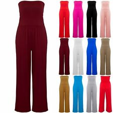 Plus Size Ladies Womens Casual Wide Leg Palazzo Boobtube Top Rompers Jumpsuit