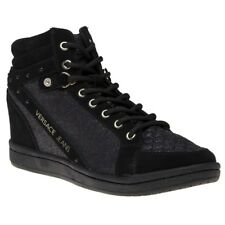 130fc0bd7684 New Womens Versace Jeans Black Wedge Synthetic Trainers Hi Top Lace Up