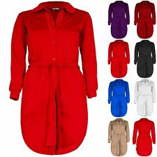 Plus Size Ladies Womens Collared Curved Hem Button Down Belted Mini Shirt Dress
