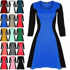 Ladies Womens 3/4 Sleeve Slimming Contrast Effect Skater Flared Dress Plus Size
