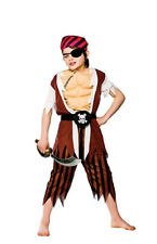 CHILD BOYS MUSCLE CHEST CUTLASS PIRATE COSTUME CARIBBEAN CAPTAIN FANCY DRESS