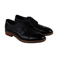 Steve Madden Averie Mens Black Leather Casual Dress Lace Up Oxfords Shoes