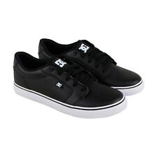 DC Anvil Mens Black Leather Sneakers Lace Up Skate Shoes