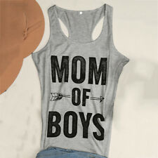 5FDE Womens MOM OF BOYS Tee Letter Print Casual Loose Top Cami Tank Vest New
