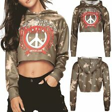 Women American Legend Champion Sweatshirt Tie Dye Peace Pullover Hooded Crop Top