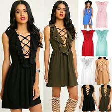 Womens Ladies 70'S Lace Up Eyelet Detail Frill Back Mini Skater Dress Plus Size