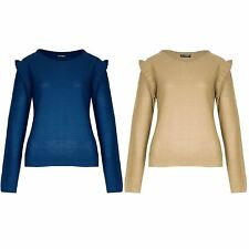 Womens Knitted Sweater Ladies Peplum Ruffle Frill Sleeve Round Neck Pullover Top