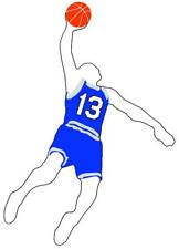 Basketball Boy Slam Dunk Vinyl Window Decal Choose Jersey Number 26-50 and Color