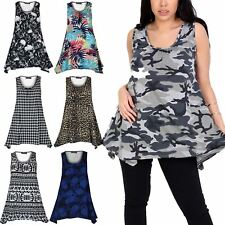 Women Ladies Sleeveless Flared Vest Ruched Multi Print Top Swing Dress Plus Size