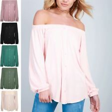 Womens Ladies Long Sleeve Off The Shoulder Elastic Front Buttons Down Bardot Top