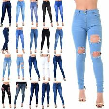 Ladies Womens Distressed Ripped Destroyed Skinny Fit Whiskers Faded Denim Jeans