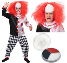 CHILDS KILLER CLOWN COSTUME WIG AND FACE PAINT SCARY HALLOWEEN FANCY DRESS