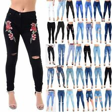 Womens Ladies Skinny Rose Embroidery Embellished Knee Cut Out Faded Denim Jeans