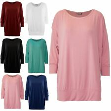 Womens Ladies Plain Round Neck 3/4 Cuffed Sleeve Baggy Oversized T Shirt Tee Top