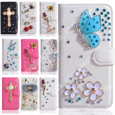 Magnetic PU Leather Shell Flip Wallet Case Rhinestone Jewelry Cover For LG