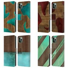 OFFICIAL ALYN SPILLER WOOD & RESIN LEATHER BOOK CASE FOR APPLE iPHONE PHONES