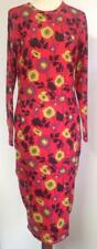 ZARA Bodycon (Tube) Long Sleeve Floral Dresss (Red Mix) Size M Or L (BNWT)
