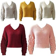Ladies Womens Bobble Knit Crop Jumper  V Neck Winter Baggy Sweater Top New