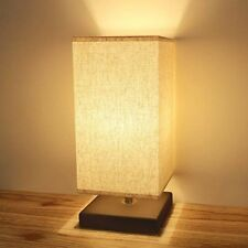 Bedside Lamp Table Desk Modern Corded Minimalist Solid Wood Fabric Shade Light