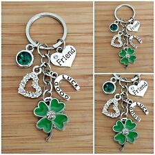 personalised birthday gift keyring GOOD LUCK CHARM, CLOVER and HORSESHOE