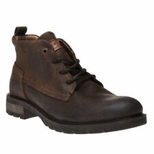 New Mens Tommy Hilfiger Tan Brown Winter Chukka Leather Boots Lace Up
