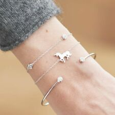 3Pcs/set Womens Cuff Gold Silver Chain Crystal Horse Open Bangle Bracelet Gifts