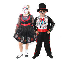 KIDS DAY OF THE DEAD FANCY DRESS COSTUME HALLOWEEN MEXICAN CANDY SUGAR SKULL