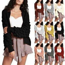 Womens Ladies Open Front Bobble Bubbles Sleeve Chunky Knitted Sweater Cardigan