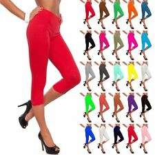 Womens Plain Leggings Pants Three Quarter Jersey Workout Ladies Gym Fitness