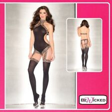 Lingerie Sexy Donna Bodystocking Reggicalze Catsuit Leopard Print Open Back hot