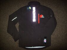 CLEVELAND BROWNS Soft Shell Jacket BROWN w Sewn Logos & Reflective Letters SMALL