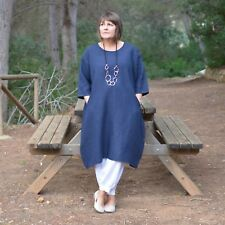 New Womens Lagenlook Quirky Linen Tunic Dress 14 16 18 20 22 24 26 28 30 32 9469